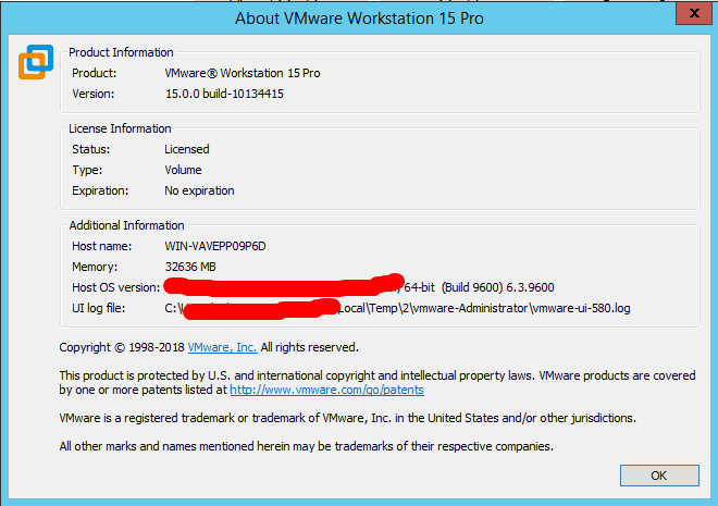 VMware Workstation Pro 15.0.0 build-10134415